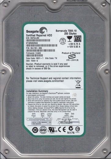 ST3250820AS, 9QF, TK, PN 9BJ13E-306, FW 3.AAG, Seagate 250GB SATA 3.5 Hard Drive