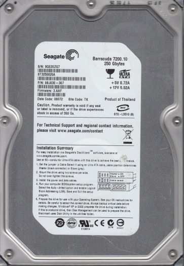 ST3250820A, 9QE, TK, PN 9BJ03E-307, FW 3.AAF, Seagate 250GB IDE 3.5 Hard Drive