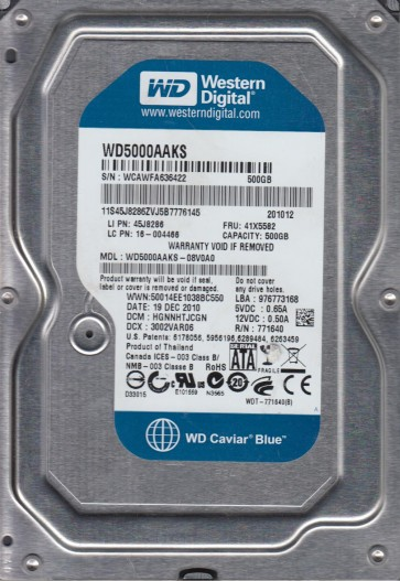 WD5000AAKS-08V0A0, DCM HGNNHTJCGN, Western Digital 500GB SATA 3.5 Hard Drive