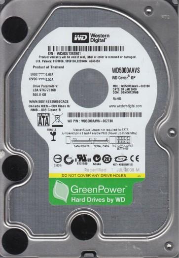 WD5000AAVS-00ZTB0, DCM DBNCHT2MHB, Western Digital 500GB SATA 3.5 Hard Drive