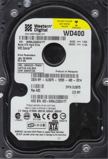 WD400JD-75HKA1, DCM DSBHCTJCH, Western Digital 40GB SATA 3.5 Hard Drive