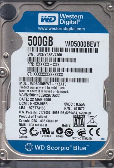 WD5000BEVT-11ZAT0, DCM HHCVJHBB, Western Digital 500GB SATA 2.5 Hard Drive