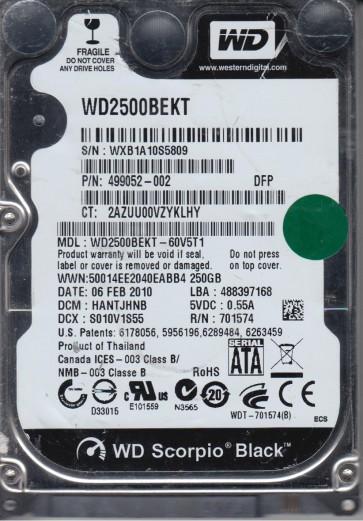 WD2500BEKT-60V5T1, DCM HANTJHNB, Western Digital 250GB SATA 2.5 Hard Drive