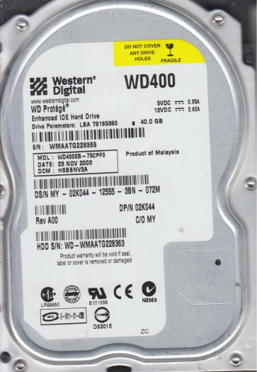 WD400EB-75CPF0, DCM HSBBNV2A, Western Digital 40GB IDE 3.5 Hard Drive