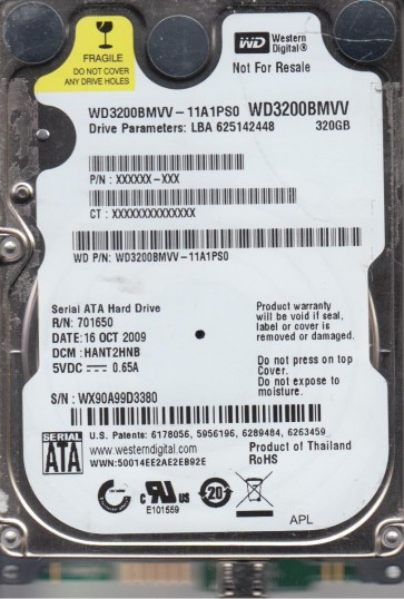 WD3200BMVV-11A1PS0, DCM HANT2HNB, Western Digital 320GB USB 2.5 Hard Drive