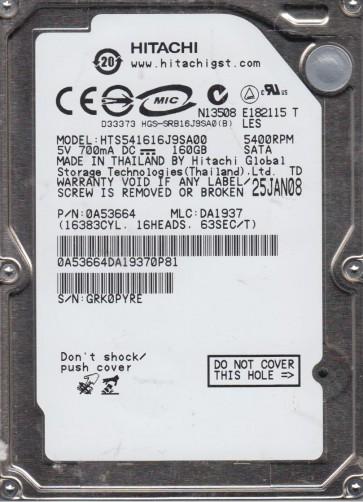 HTS541616J9SA00, PN 0A53664, MLC DA1937, Hitachi 160GB SATA 2.5 Hard Drive