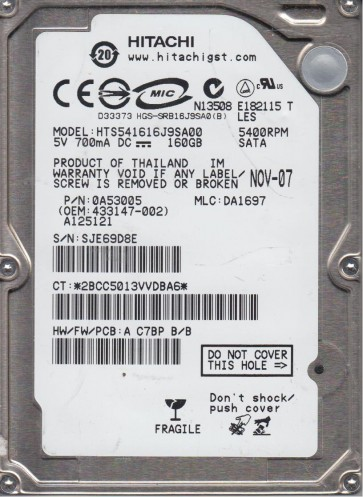 HTS541616J9SA00, PN 0A53005, MLC DA1697, Hitachi 160GB SATA 2.5 Hard Drive