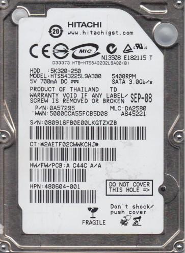 HTS543225L9A300, PN 0A57295, MLC DA2580, Hitachi 250GB SATA 2.5 Hard Drive