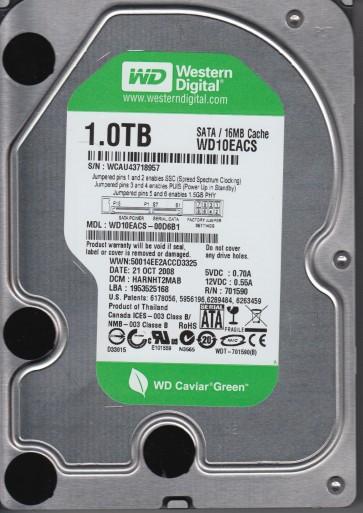 WD10EACS-00D6B1, DCM HARNHT2MAB, Western Digital 1TB SATA 3.5 Hard Drive