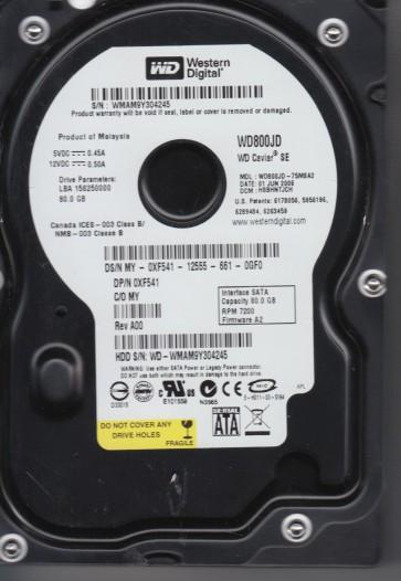 WD800JD-75MSA2, DCM HSBHNTJCH, Western Digital 80GB SATA 3.5 Hard Drive