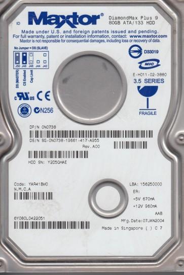 6Y080L0, Code YAR41BW0, NMCA, Maxtor 80GB IDE 3.5 Hard Drive