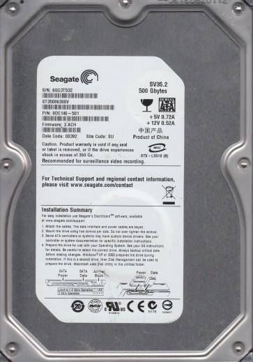 ST3500630SV, 6QG, SU, PN 9DC146-501, FW 3.ACH, Seagate 500GB SATA 3.5 Hard Drive