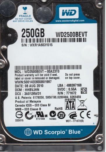 WD2500BEVT-00A23T0, DCM HHBVJHN, Western Digital 250GB SATA 2.5 Hard Drive