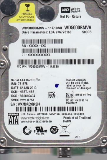 WD5000BMVV-11A1CS0, DCM HABTJHBB, Western Digital 500GB USB 2.5 Hard Drive