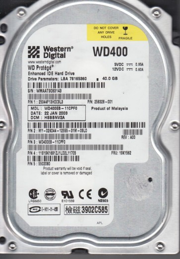 WD400EB-11CPF0, DCM HSBBNV2A, Western Digital 40GB IDE 3.5 Hard Drive