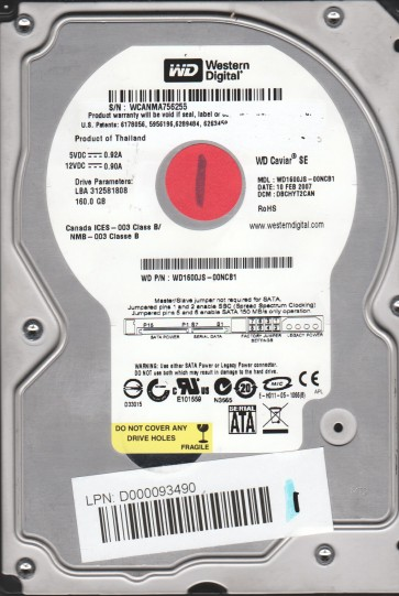 WD1600JS-00NCB1, DCM DBCHYT2CAN, Western Digital 160GB SATA 3.5 Hard Drive