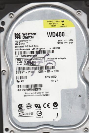 WD400BB-75DEA0, DCM HSBANA2AA, Western Digital 40GB IDE 3.5 Hard Drive