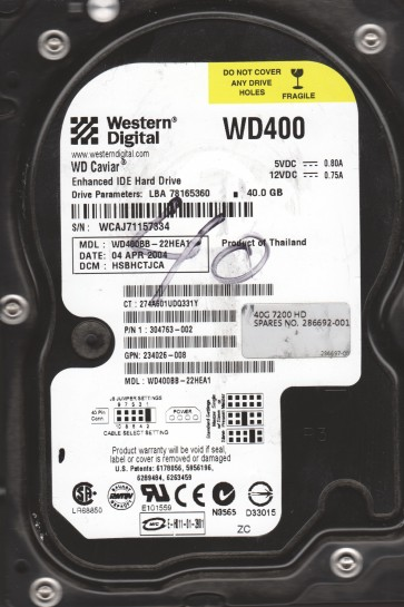 WD400BB-22HEA1, DCM HSBHCTJCA, Western Digital 40GB IDE 3.5 Hard Drive
