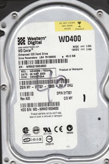 WD400BB-75DEA0, DCM DSBACV2AA, Western Digital 40GB IDE 3.5 Hard Drive