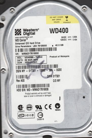 WD400BB-75DEA0, DCM DSBHNV2AH, Western Digital 40GB IDE 3.5 Hard Drive