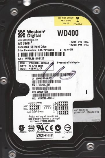 WD400BB-22HEA1, DCM HSBHCVJCA, Western Digital 40GB IDE 3.5 Hard Drive