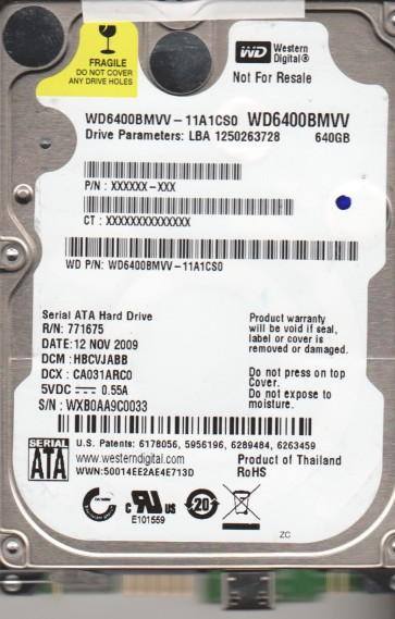 WD6400BMVV-11A1CS0, DCM HBCVJABB, Western Digital 640GB USB 2.5 Hard Drive