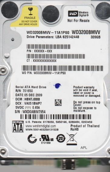 WD3200BMVV-11A1PS0, DCM HBNTJBBB, Western Digital 320GB USB 2.5 Hard Drive