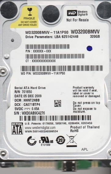 WD3200BMVV-11A1PS0, DCM HHNT2HBB, Western Digital 320GB USB 2.5 Hard Drive