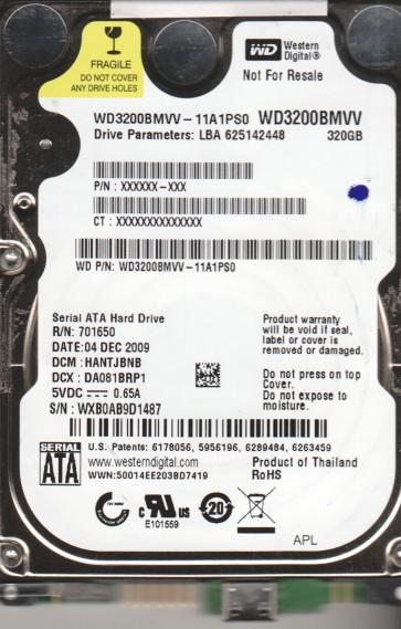 WD3200BMVV-11A1PS0, DCM HANTJBNB, Western Digital 320GB USB 2.5 Hard Drive