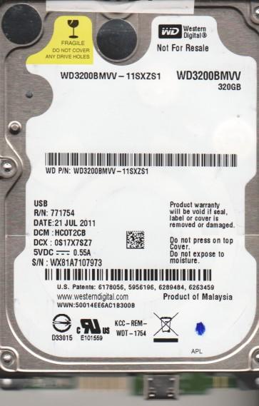 WD3200BMVV-11SXZS1, DCM HCOT2CB, Western Digital 320GB USB 2.5 Hard Drive