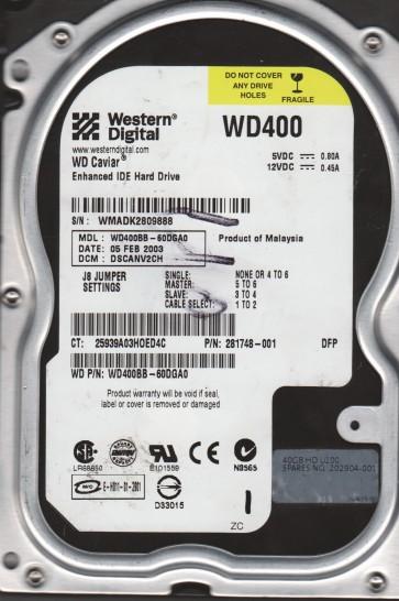 WD400BB-60DGA0, DCM DSCANV2CH, Western Digital 40GB IDE 3.5 Hard Drive