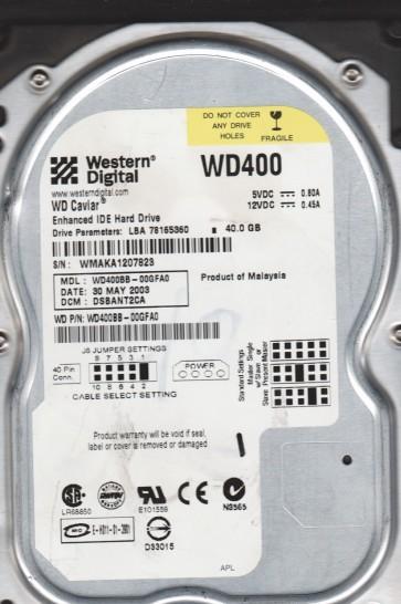 WD400BB-00GFA0, DCM DSBANT2CA, Western Digital 40GB IDE 3.5 Hard Drive