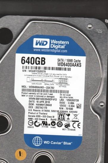 WD6400AAKS-22A7B2, DCM HANNHT2MAB, Western Digital 640GB SATA 3.5 Hard Drive