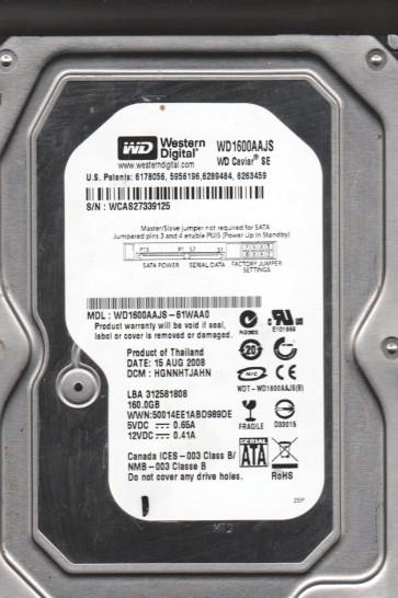 WD1600AAJS-61WAA0, DCM HGNNHTJAHN, Western Digital 160GB SATA 3.5 Hard Drive