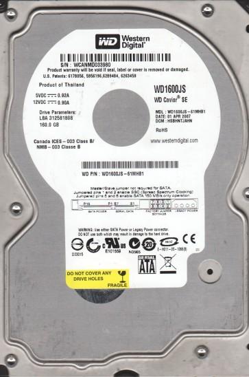 WD1600JS-61MHB1, DCM HSBHNTJAHN, Western Digital 160GB SATA 3.5 Hard Drive