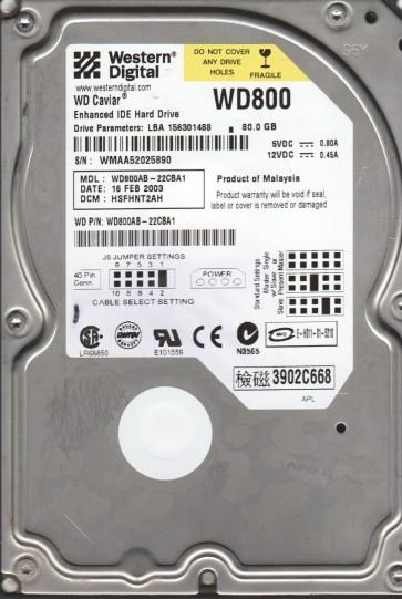 WD800AB-22CBA1, DCM HSFHNT2AH, Western Digital 80GB IDE 3.5 Hard Drive
