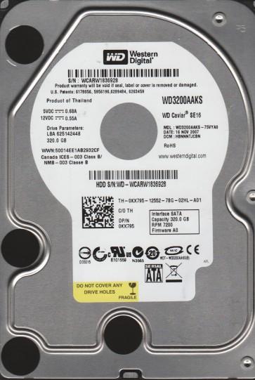 WD3200AAKS-75VYA0, DCM HBNNNTJCBN, Western Digital 320GB SATA 3.5 Hard Drive