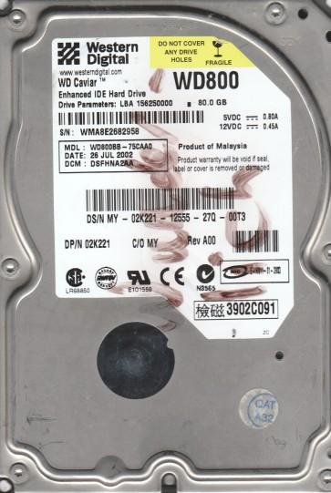 WD800BB-75CAA0, DCM DSFHNA2AA, Western Digital 80GB IDE 3.5 Hard Drive