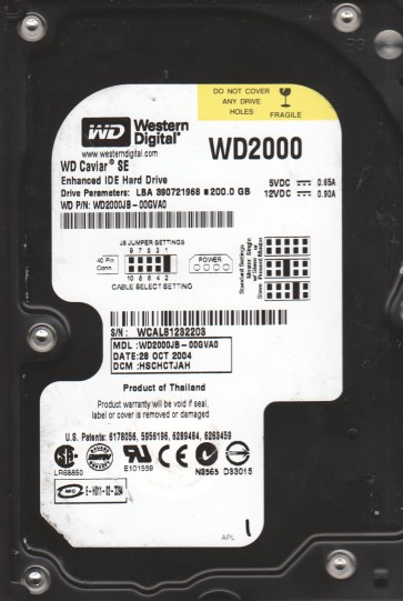 WD2000JB-00GVA0, DCM HSCHCTJAH, Western Digital 200GB IDE 3.5 Hard Drive