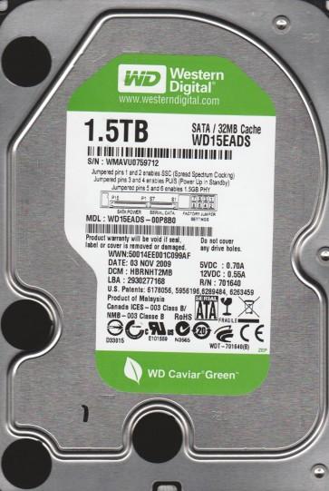 WD15EADS-00P8B0, DCM HBRNHT2MB, Western Digital 1.5TB SATA 3.5 Hard Drive