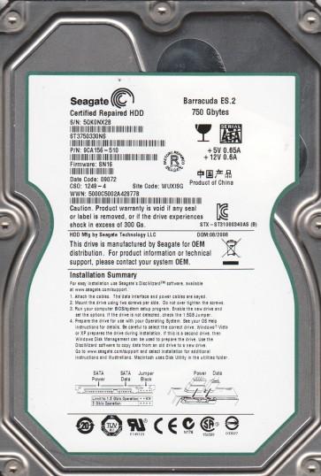 ST3750330NS, 5QK, WUXISG, PN 9CA156-510, FW SN16, Seagate 750GB SATA 3.5 Hard Drive