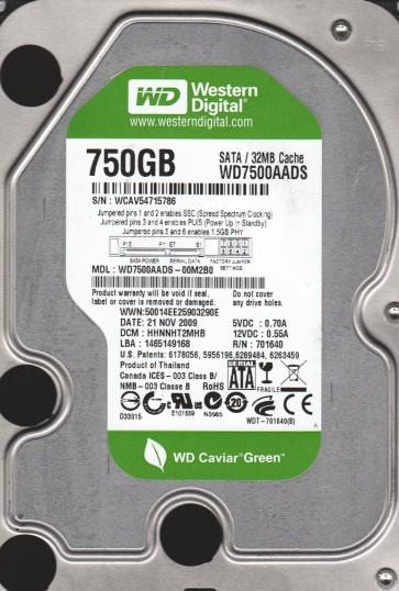 WD7500AADS-00M2B0, DCM HHNNHT2MHB, Western Digital 750GB SATA 3.5 Hard Drive