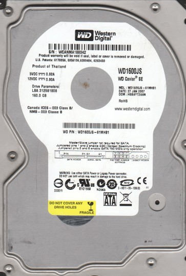 WD1600JS-61MHB1, DCM HSBAYT2AAN, Western Digital 160GB SATA 3.5 Hard Drive
