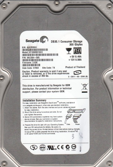 ST3300831SCE, 4NF, TK, PN 9AG384-505, FW 3.03C, Seagate 300GB SATA 3.5 Hard Drive
