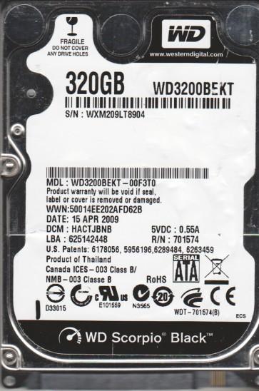 WD3200BEKT-00F3T0, DCM HACTJBNB, Western Digital 320GB SATA 2.5 Hard Drive
