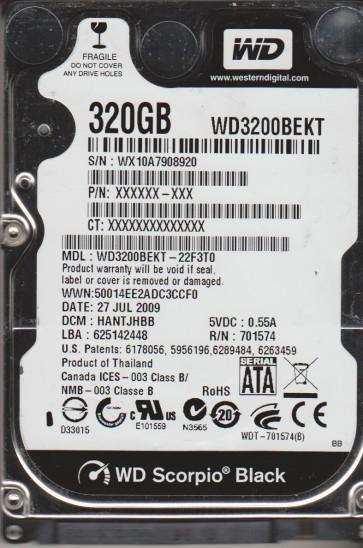 WD3200BEKT-22F3T0, DCM HANTJHBB, Western Digital 320GB SATA 2.5 Hard Drive