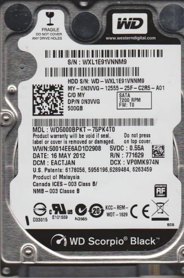 WD5000BPKT-75PK4T0, DCM EACTJAN, Western Digital 500GB SATA 2.5 Hard Drive