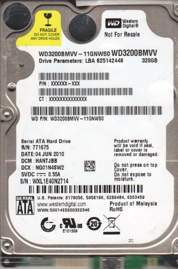 WD3200BMVV-11GNWS0, DCM HANTJBB, Western Digital 320GB USB 2.5 Hard Drive