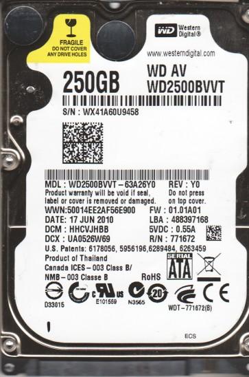 WD2500BVVT-63A26Y0, DCM HHCVJHBB, Western Digital 250GB SATA 2.5 Hard Drive