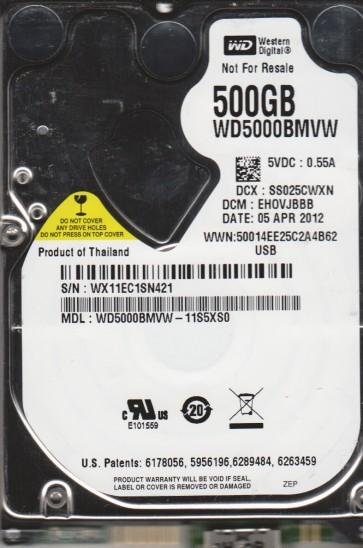 WD5000BMVW-11S5XS0, DCM EHOVJBBB, Western Digital 500GB USB 2.5 Hard Drive